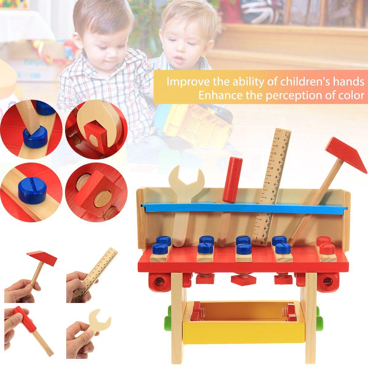 Lelin Для детей 30 шт. Ролевые игры игрушки деревянные плотник Builder работы DIY инструмент скамейке игрушка