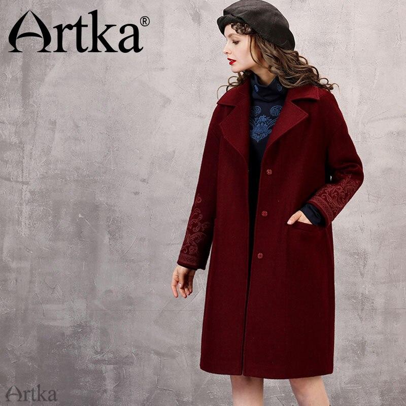 Artka 2018 Automne et D'hiver Nouvelles Collections 55% Laine Figurant Vintage Vin Rouge Broderie Bouton Moyen Long Manteau FA10266D