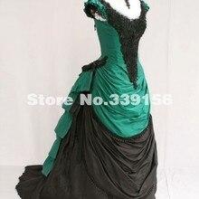 Абсолютно новое зеленое и черное атласное с v-образным вырезом викторианское бальное платье 19 век викторианское женское платье с бантом