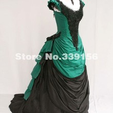 Brand New Green and Black Satin V-Neck Victorian Bustle Ball Gown 19th  Century Victorian bca779b38a9b