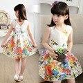 2016 лета девушки цветок хлопка платье девушки цветочные платье принцессы дети свободного покроя платье Vestido novia-принцеса Roupas Infantis Menina