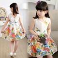 2016 Girl Summer flower cotton Dress Girls Floral Princess Dress Kids Casual Dress Vestido Princesa Roupas Infantis Menina