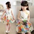 2016 verão Menina flor Vestido de algodão meninas Floral Princesa crianças Vestido Casual Vestido de Princesa Roupas Infantis Menina