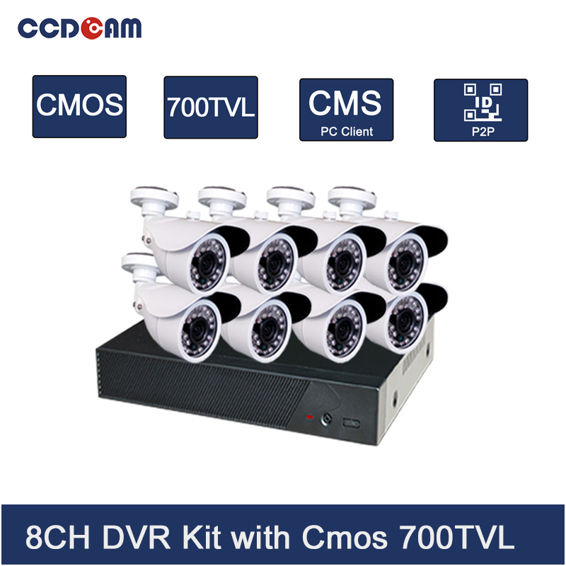 CCDCAM Security 8ch Cctv Camera Dvr Kit With 8 Channel Ahd Dvr Surveillance Cmos 700tvl Outdoor Camera