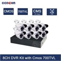 CCDCAM Security 8ch cctv camera dvr kit with 8 channel ahd dvr surveillance cmos 700tvl outdoor camera