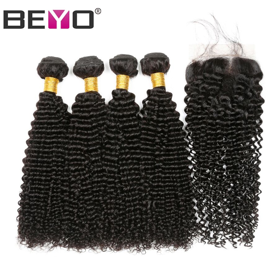 Beyo Kinky Curly Bundles With Closure Brazilian Hair Weave Bundles Human Hair Extension Bundles With Closure 5Pcs Non Remy Hair
