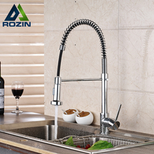 Luxury Deck Mounted Pull Down Kitchen Sink Faucet Single Lever Spring Spout Kitchen Hot and Cold Mixer Taps