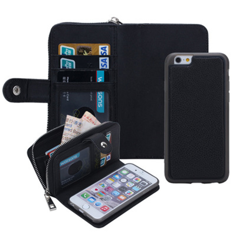 High end zipper wallet leather phone cover for iPhone 5S 6 6S 7 8 plus X XS XR MAX for apple card magnetic phone case handbag in Wallet Cases from Cellphones Telecommunications