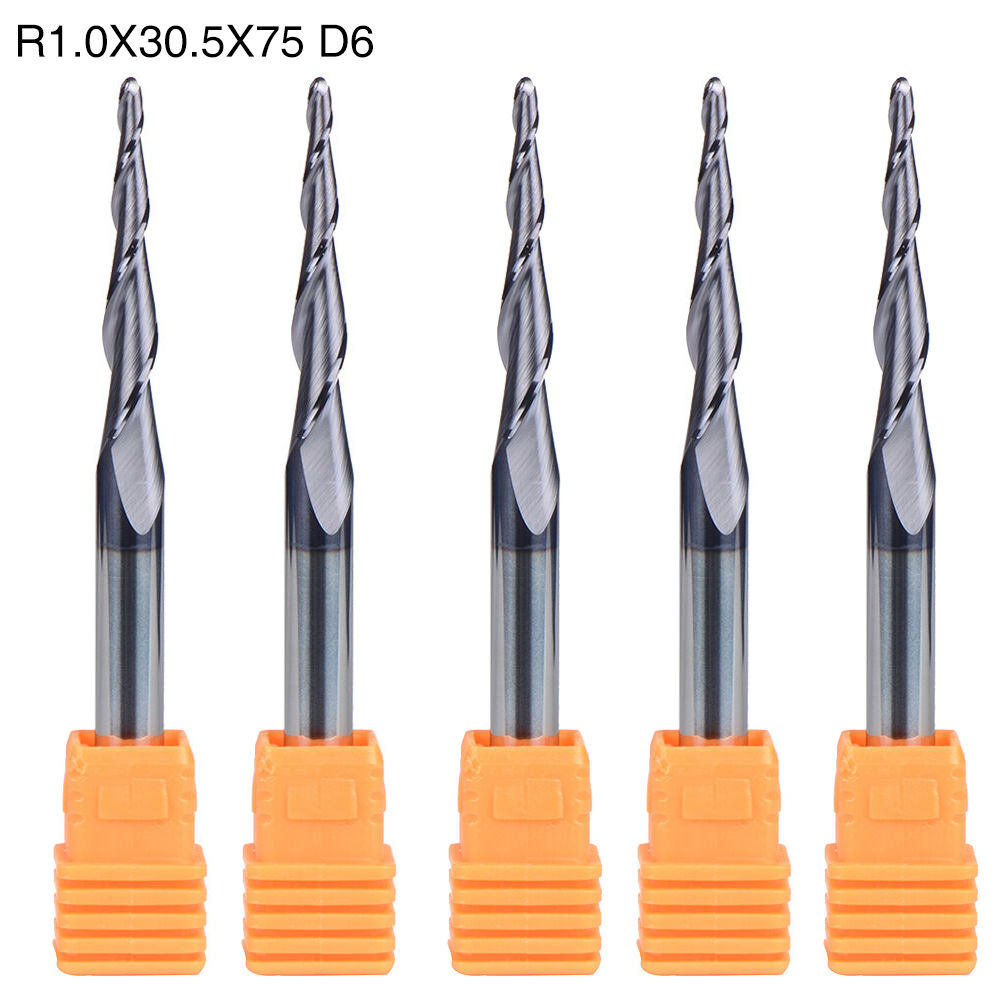5Pcs Carbide Tungsten Carbide Tapered Ball Nose End Mill 1.0MM Radius 2 Flute 6MM Shank CNC Tool5Pcs Carbide Tungsten Carbide Tapered Ball Nose End Mill 1.0MM Radius 2 Flute 6MM Shank CNC Tool