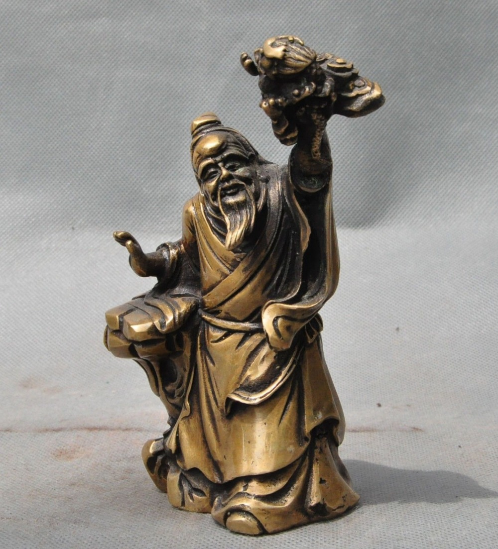 Crafts statue old chinese Period pure bronze Ancient Old people Dragon Art statue sculptureCrafts statue old chinese Period pure bronze Ancient Old people Dragon Art statue sculpture