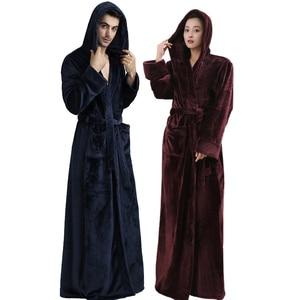 Image 2 - คนรัก Hooded ยาวพิเศษความร้อนเสื้อคลุมอาบน้ำผู้หญิง Plus ขนาดฤดูหนาวหนา Robe Dressing Gown ชุดเพื่อนเจ้าสาว Robes