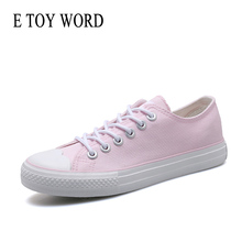 E TOY WORD Womens sneakers Canvas Shoes lovely pink womens casual shoes Cherry blossom Breathable Soft round toe Women Shoes