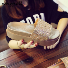 WHOHOLL Women Slippers Crystal Flat Heel Summer Shoes Female Indoor Outside Bling Beach Slides Open Toe Rhinestone Ladies Shoe