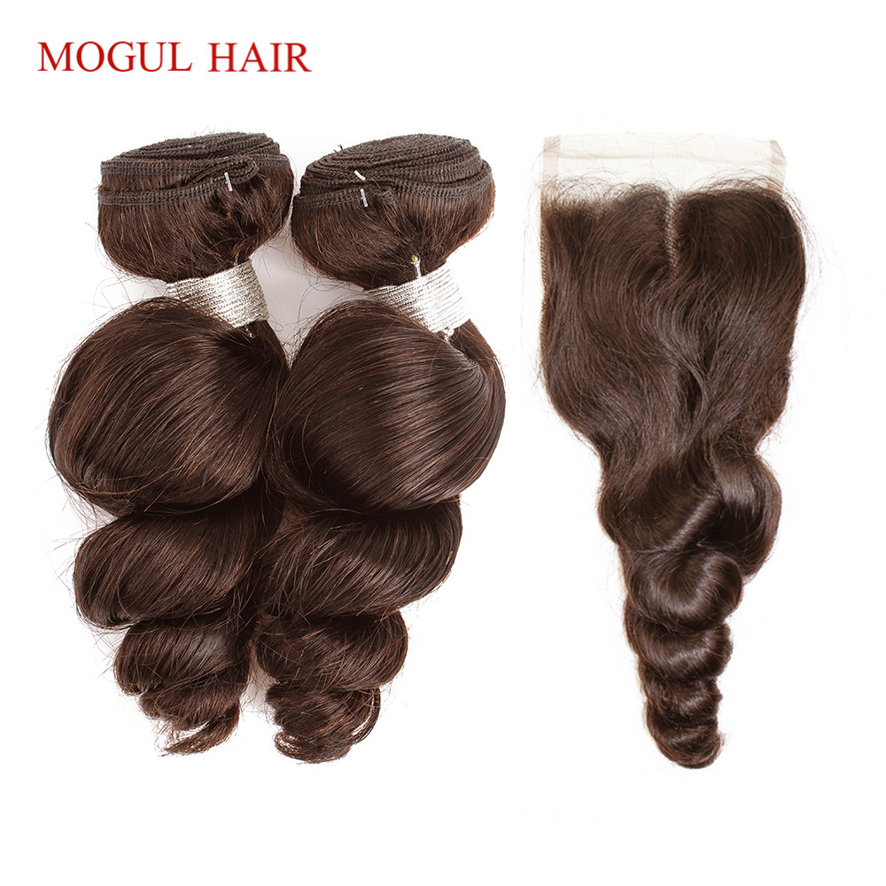 MOGUL HAIR Brazilian Loose Wave Bundles With Closure Natural Brown 2 3 Bundles With 4x4 Lace
