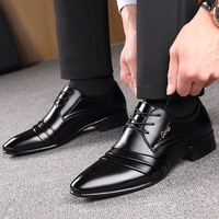 2019 Fashion Mens Leather Shoes Wedding Business Dress Pointed Oxfords Breathable Working Lace Up Shoes Big Size