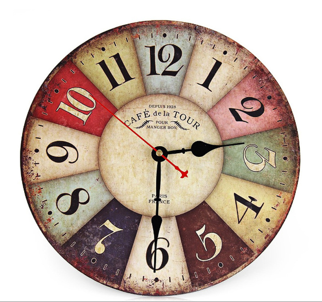 Best New Large Wooden Wall Clock Round Vintage France Paris Colourful French Country Tuscan Style