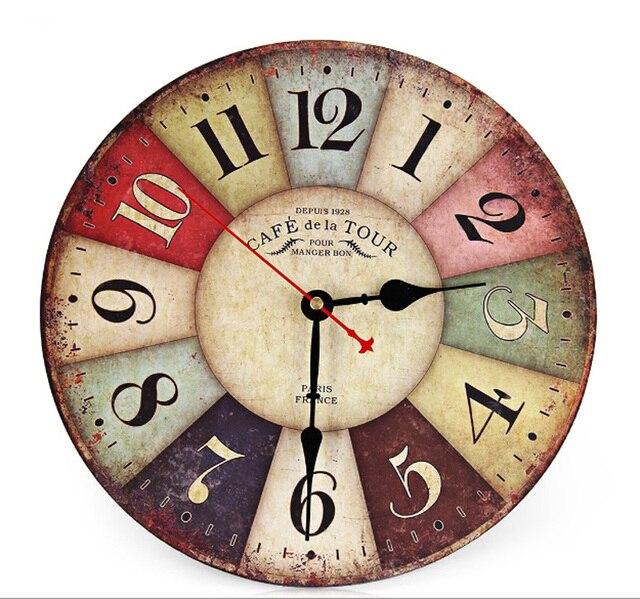 Meilleure Vente Nouvelle Grande Horloge Murale En Bois Rond Vintage