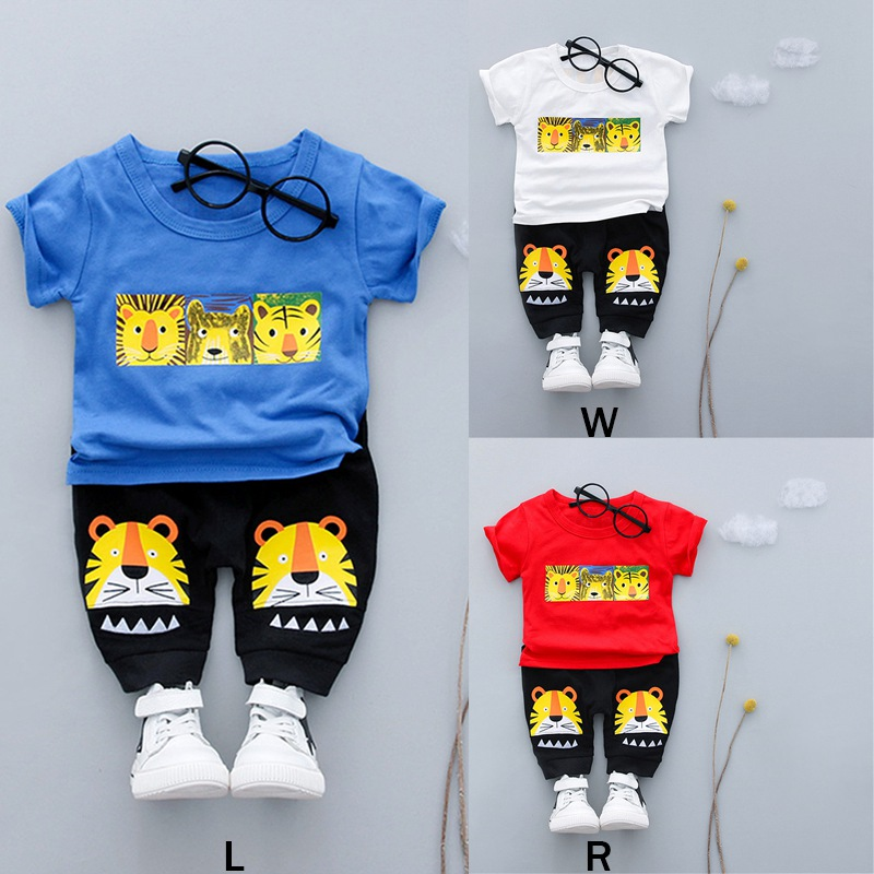 Cartoon T-Shirt + Pants Baby Boy Clothes Set Summer Newborn Boy T-shirt Cartoon Pants 2018 New Boy T-shirt