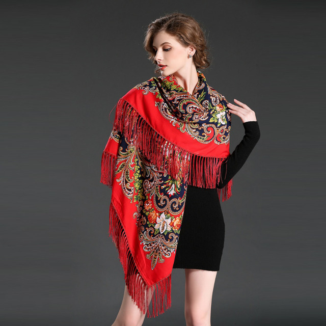 Sjaals Zomer Fashion Scarf for Women Russia Ethnique Cashmere Embroidery  Scarf Ladies Blanket Scarf Echarpe Big Size Hijab Caps 422a9ed939b