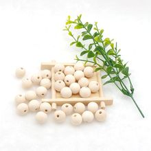 Chenkai 100PCS 14mm Natural Ball Wooden Beads Pendant Connectors Round Baby Toy Wood For Charm Jewelry Making Handmade