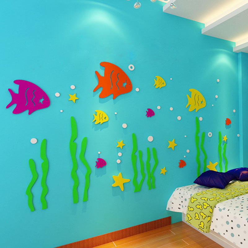 cute cartoon sea world fish design 3d acrylic wall stickers for kids