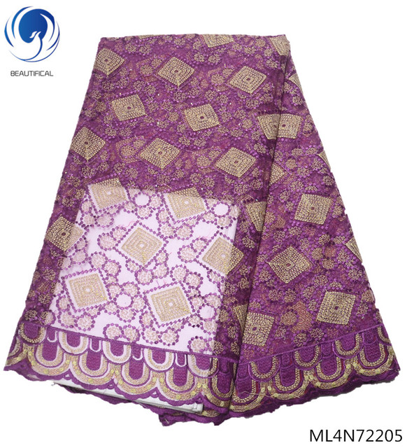 BEAUTIFICAL african lace fabrics for dresses Hot sale nigerian tulle lace fabric with stoens 5yards/lot ML4N722