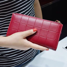 New fashion Women Leather Purse Plaid Wallets Long Ladies Colorful Walet Red Clutch 10 Card Holder Coin Bag Female Double Zipper