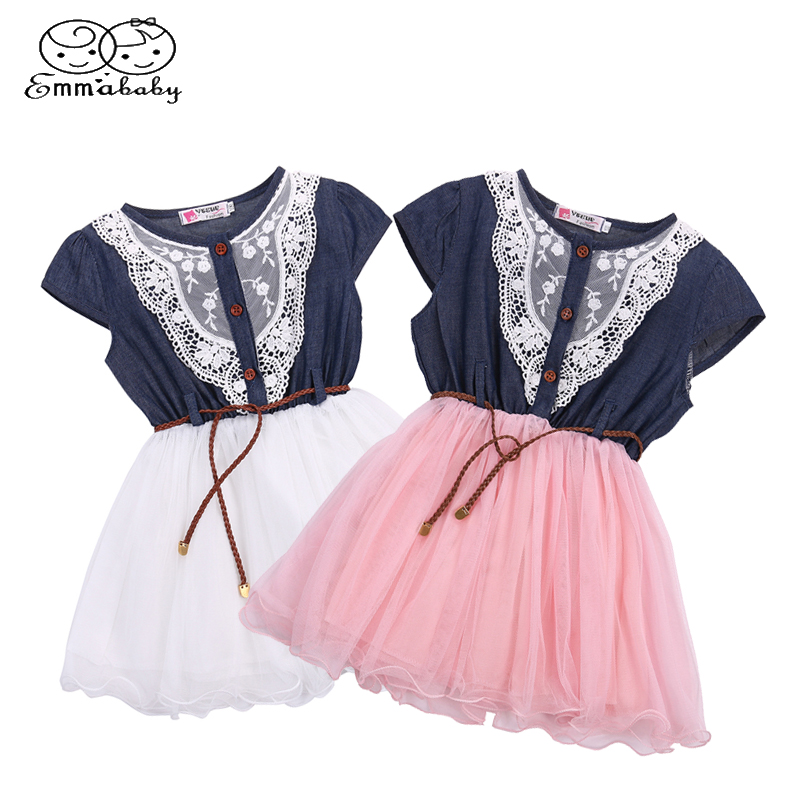 Emmababy Kids Baby Girls Party Lace Flower Tulle Denim Dress Gown Formal Dresses kids baby girls party dress clothing sleeveless lace tulle flower gown cute mini new dresses girls sundress 1 6y