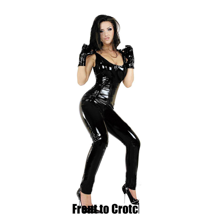 Crotchless latex bodysuit