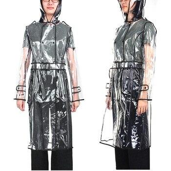 Eva прозрачный плащ с поясом длинный дождевик Женская куртка Водонепроницаемый ветровка с капюшоном пончо на открытом воздухе плащи плащ от ...