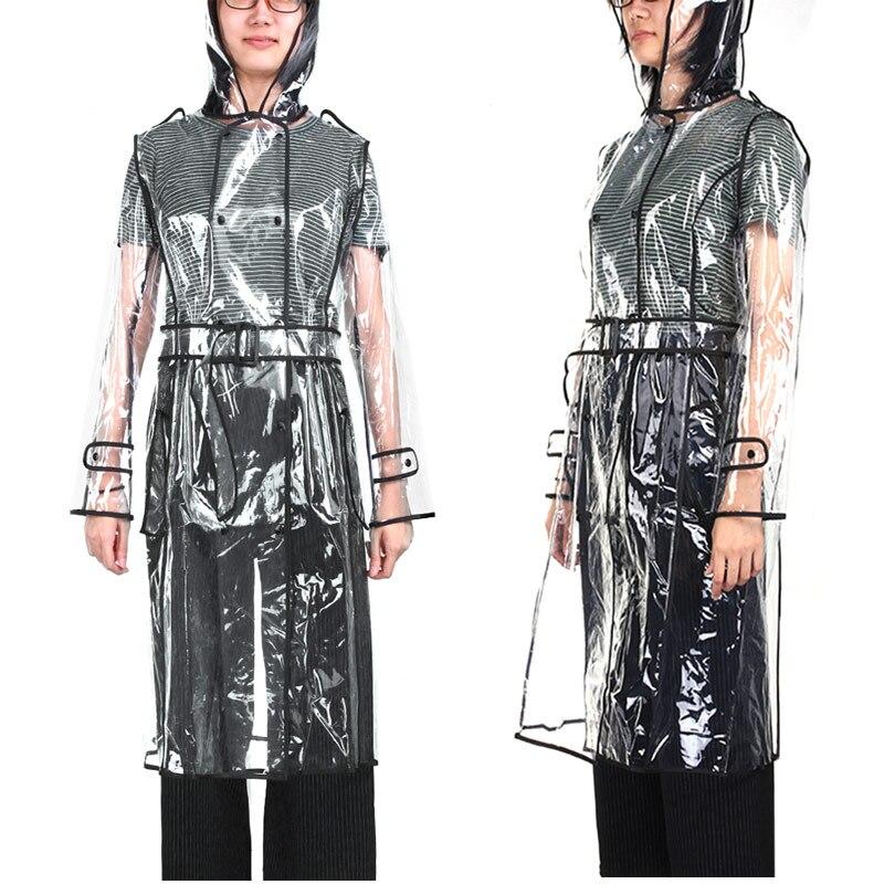 Impermeable transparente de Eva impermeable largo para mujer chaqueta impermeable rompevientos Poncho de lluvia con cinturón al aire libre capa de luvia Bebebek Midimod verano conejo para niña bebé Micro chubasquero