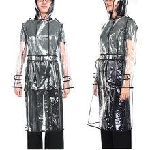 Chubasquero transparente impermeable para mujer, chaqueta cortavientos, Poncho de lluvia con cinturón, para exteriores, viajes, senderismo, capa de lluvia