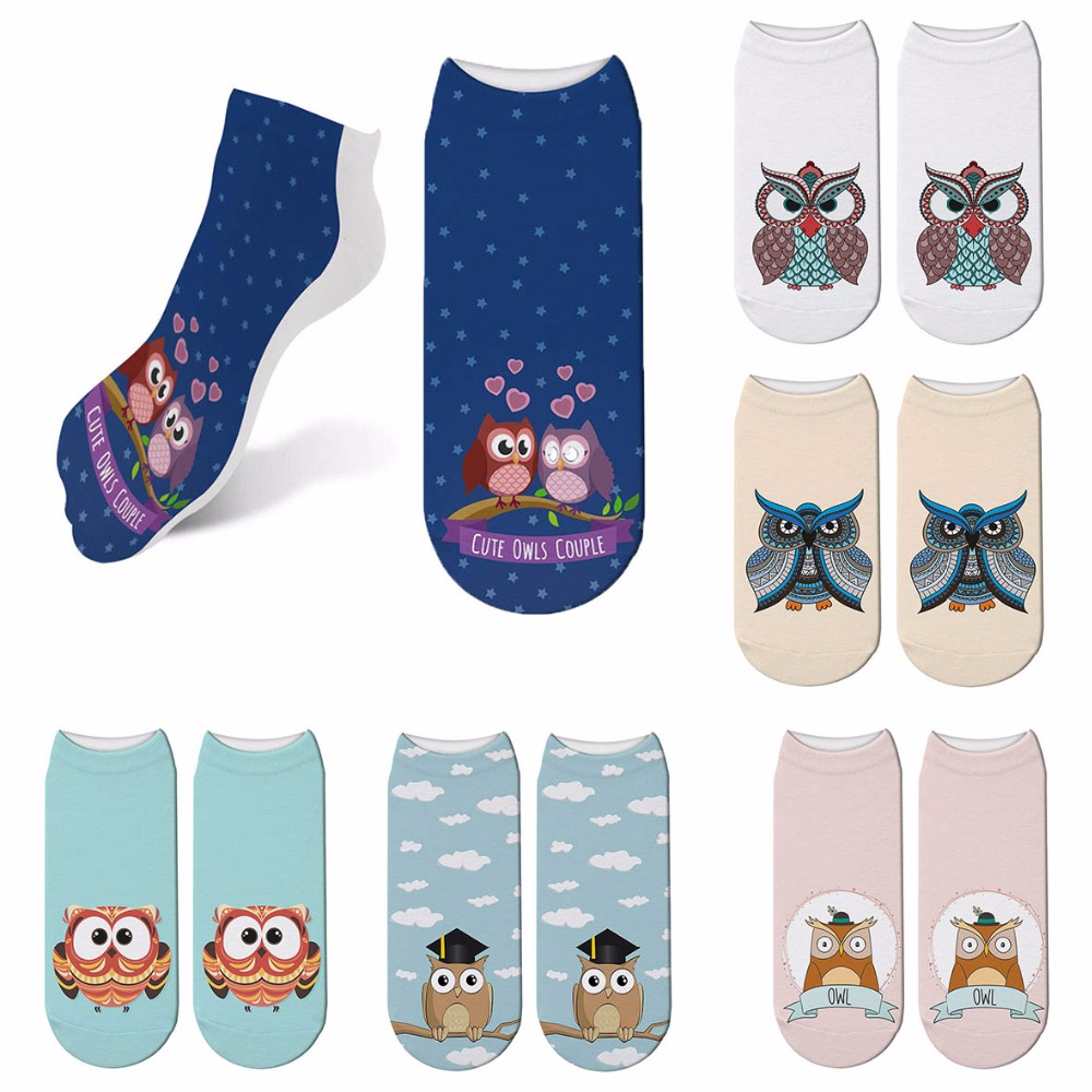 New Owl <font><b>Sock</b></font> 3D Printing Women <font><b>Socks</b></font> <font><b>Animal</b></font> Brand <font><b>Sock</b></font> Fashion <font><b>Unisex</b></font> Meias Female Funny Low Ankle Cartoon <font><b>Socks</b></font> 6ZJQ-ZWS32 image