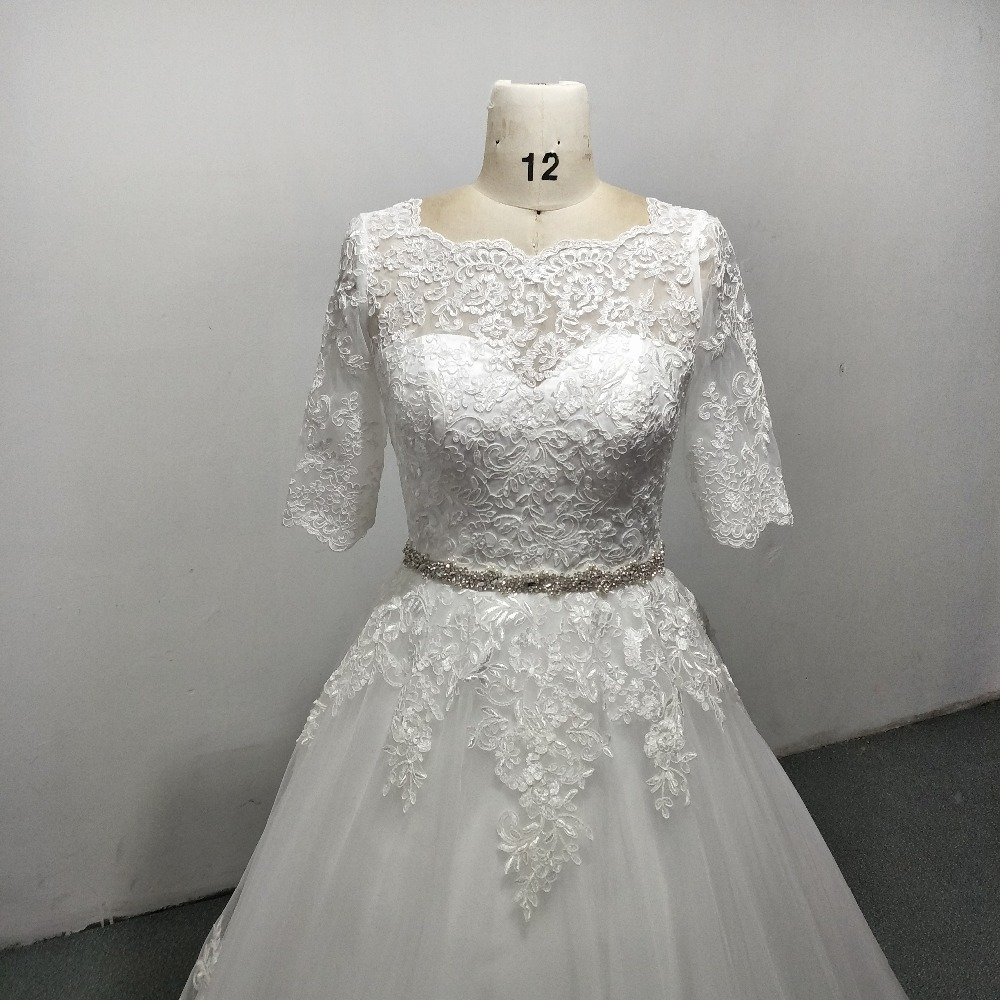 Elegant A-line Lace Beading Floor Length Wedding Dress