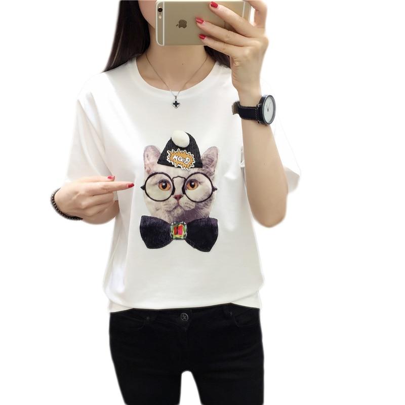 Brand New Summer Harajuku Cartoon Print Shirt O-Neck Short Sleeve - Damkläder