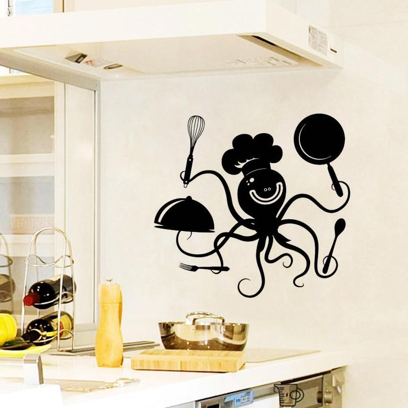 Cute Kitchen Wall Decor: Lnteresting Cute Octopus Kitchen Wall Sticker Restaurant