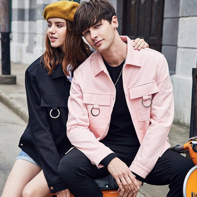 98% algodón Hombre cortavientos 2018 nuevo primavera streetwear casual streetwear un solo pecho turn down collar hombres chaquetas y abrigos