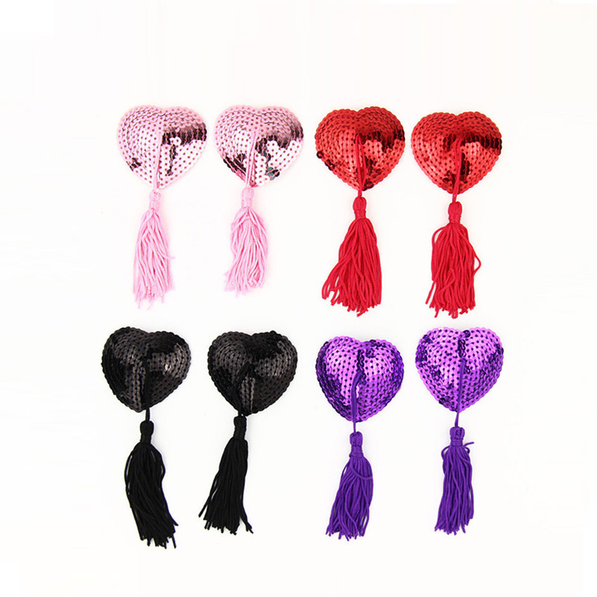 1 Pair Milk Paste Women Tassel Sequin Paste Silicone Heart Shaped Breast Nipple Cover Chest Paste Sexy Products