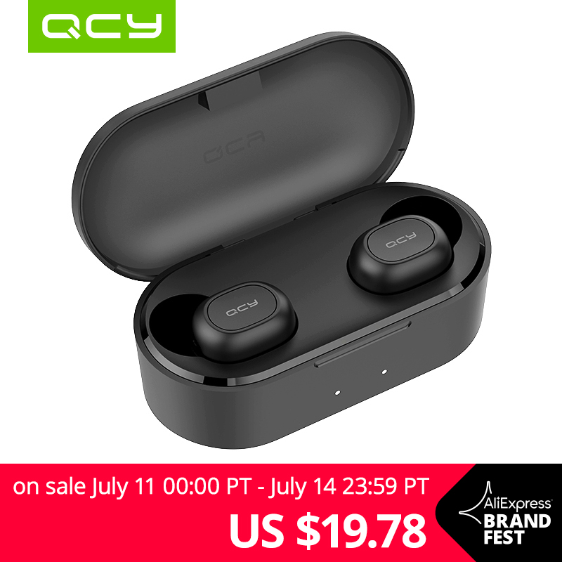 QCY QS2 TWS Bluetooth V5.0 Headphones 3D Stereo Sports Wireless Earphones with Dual Microphone Бейсболка