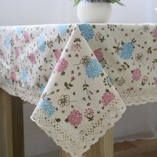 High Quanlity Linen Cotton Lace cloth tablecloth Rectangular Floral Japanese Tablecloth manteles para mesas Free Shipping(China)