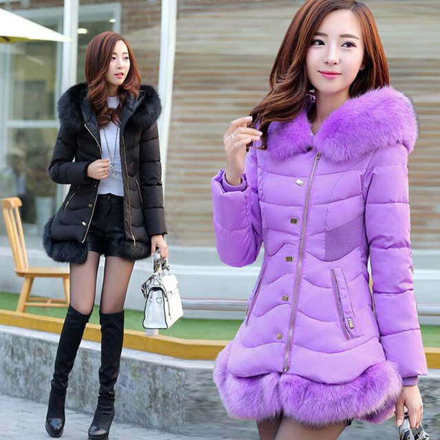 Plus Size 2016 New Fashion Women's Winter Jacket Slim Thicken Rivet Female Cotton Coat Long Hooded Faux Fur Parka Coat