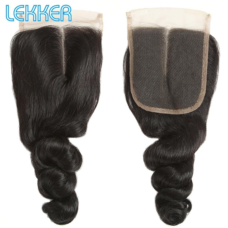 Lekker Loose Wave Human Hair Bundles Brazilian 4X4 Swiss Lace Closure Brazilian Human Hair Extensions 100% Human Hair Closures