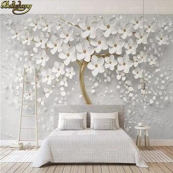 Beibehang Personalizado Blanco Flor Arbol Grande Mural Papel Pintado