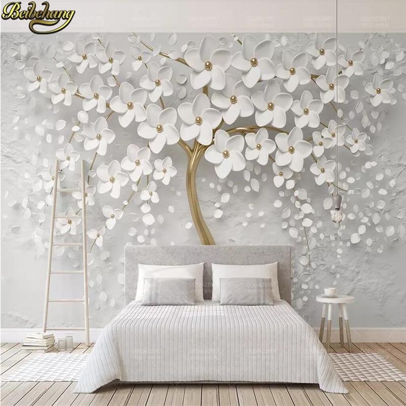 Beibehang personalizado flor branca grande árvore foto mural papel de parede sala de estar cama paisagem decoração da parede em relevo