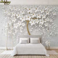 beibehang custom White flower big tree Photo mural Wallpaper Living Room Bedding Room Landscape Wall Decor Embossed Wall paper