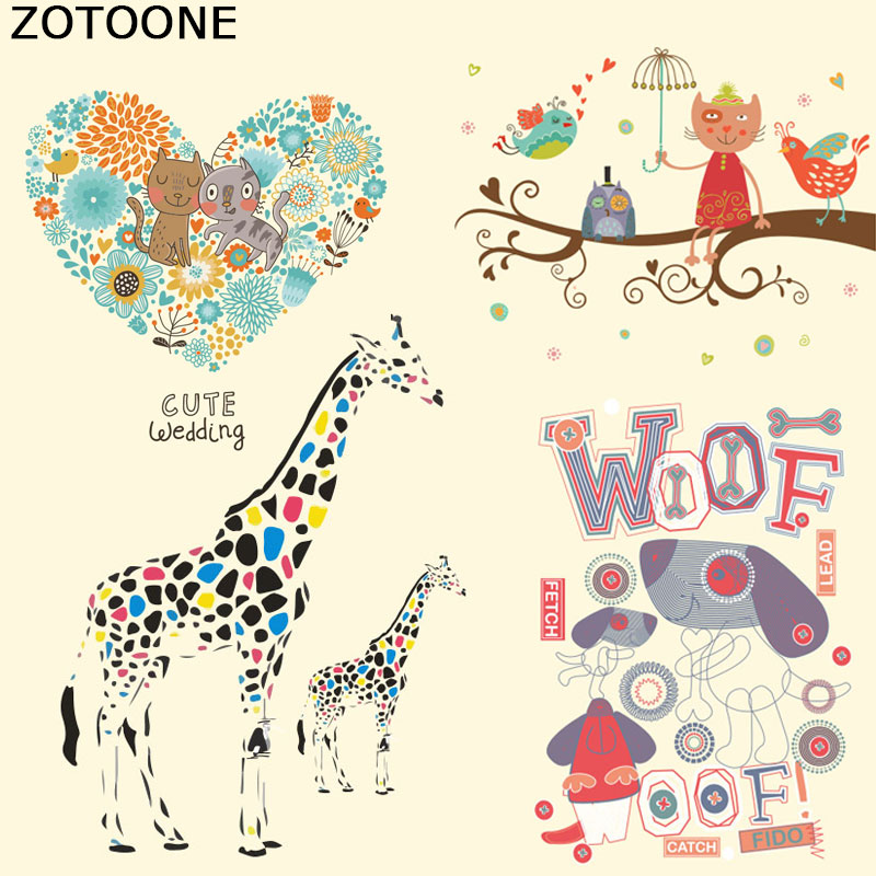 ZOTOONE Cute Animal Iron on Patch A-level Washable T-shirt Transfer Paper Easy By Household Irons Christmas Gift for Kids F