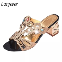 Lucyever Bohemia Beach Sandals Women Rhinestone Bling Sandals New Designer Summer Shoes Slides Crystal Sandals Flip