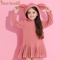 Bear Leader Girls Dress 2017 New Autumn Brand Baby Girls Blouse Rabbit Ears Hooded Ruched Long