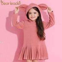 Ayı Lideri Kız Elbise 2017 Yeni Sonbahar Marka Bebek Kız bluz Tavşan Kulaklar Kapüşonlu Dantelli Uzun Kollu Çocuk Elbise 2-6 yıl