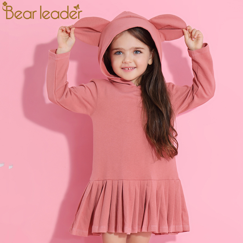 Bear Leader Girls Dress 2017 New Autumn Brand Baby Girls Blouse Rabbit Ears Hooded Ruched Long